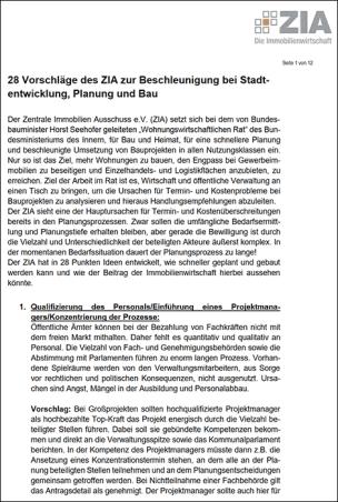 28 Vorschläge des ZIA zur Beschleunigung bei Stadtentwicklung, Planung und Bau