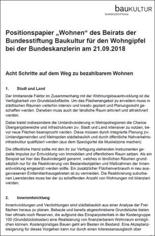 Positionspapier ,Wohnen' des Beirats der Bundesstiftung Baukultur für den Wohngipfel bei der Bundeskanzlerin am 21.09.2018