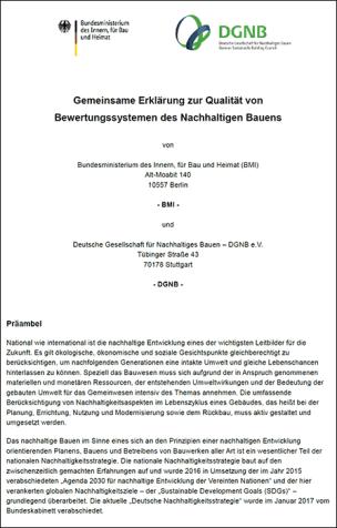 Gemeinsame Erklärung zur Qualität von Bewertungssystemen des Nachhaltigen Bauens