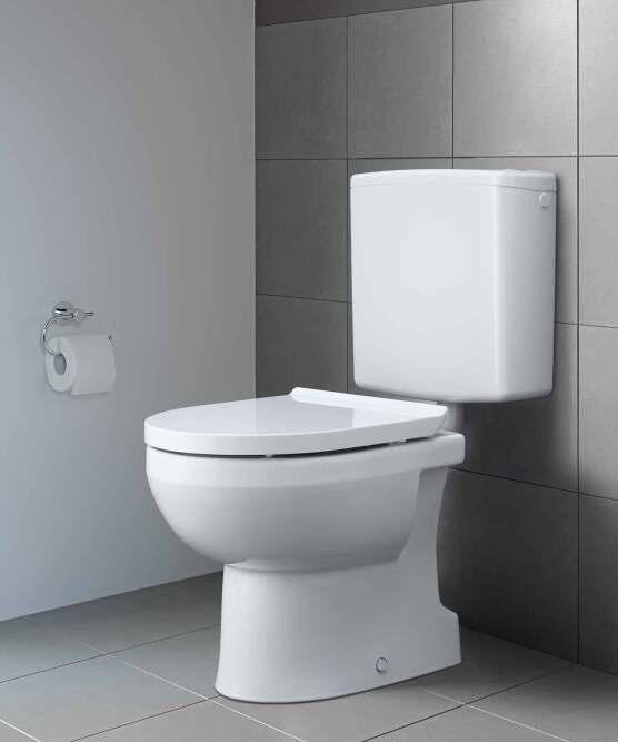 Stand-WC DuraStyle Basic Rimless mit senkrechtem Abgang und Aufputzspülkasten