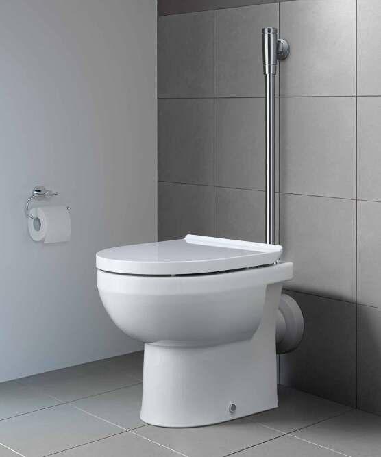 Stand-WC DuraStyle Basic Rimless mit waagrechtem Abgang und Druckspüler