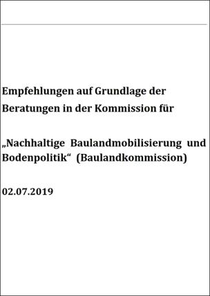 Handlungsempfehlungen der Baulandkommission