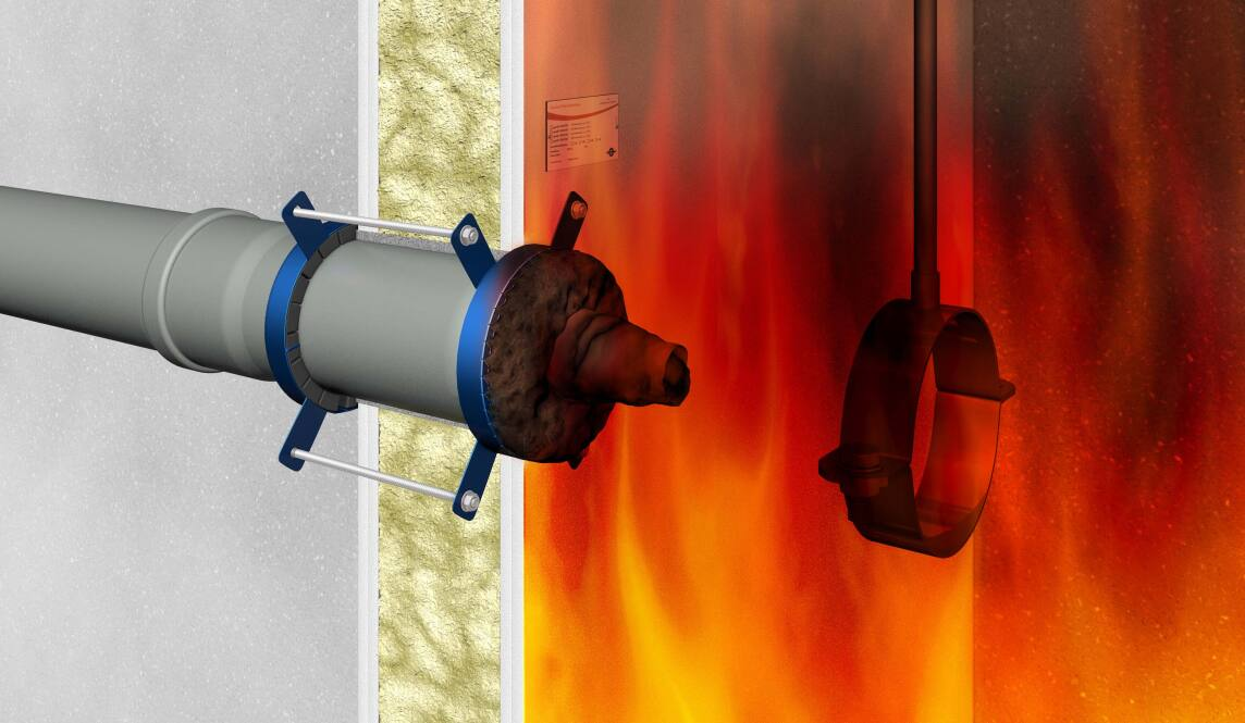 Phasen der Abschottung bei einer Brandschutzmanschette